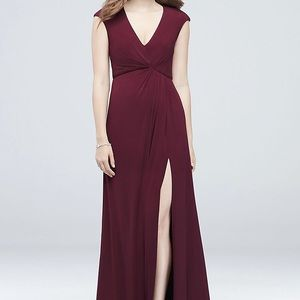 Gathered jersey V-Neck Dress with Keyhole Back.